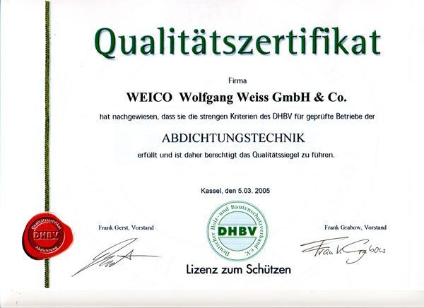 Zertifikat DHBV
